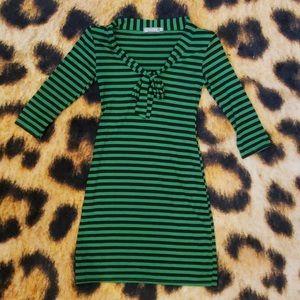 Striped Green & Black Pussy Bow Dress